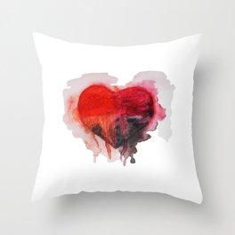Watercolor heart Throw Pillow