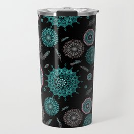 Boho black smaller turquoise mandalas Travel Mug