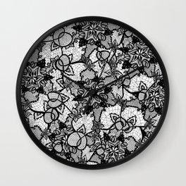Elegant floral black hand drawn lace pattern Wall Clock