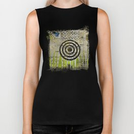 Bullseye Abstract Art Collage Biker Tank