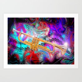 Psychedelic Trumpet Art Print