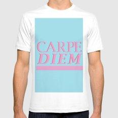 Carpe Diem blue White Mens Fitted Tee MEDIUM