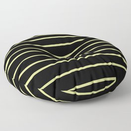 VA Lime Green - Lime Mousse - Bright Cactus Green - Celery Hand Drawn Horizontal Lines on Black Floor Pillow
