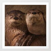 otters Art Prints featuring River Otters by Joshua Arlington