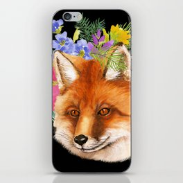 Red Fox with Flowers iPhone Skin