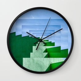 Minimalist  Flat Architectural perspective design - green and blue layers Wall Clock