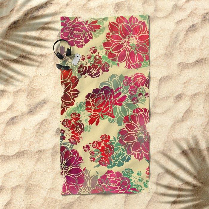 Flower Pattern Design #3 Beach Towel