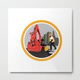 Mechanical Digger Construction Worker Circle Metal Print