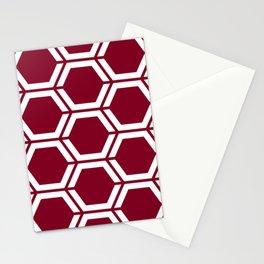 Oxblood - purple - Geometric Polygon Pattern Stationery Cards