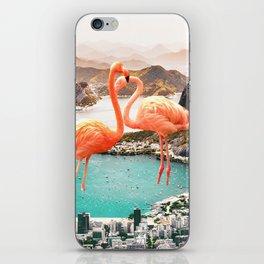 Collage, Flamingo, City, Creative, Nature, Modern, Trendy, Wall art iPhone Skin