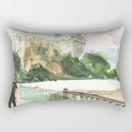 Fall breezes chill the air as an artist works - Pont au Double, Paris Rectangular Pillow