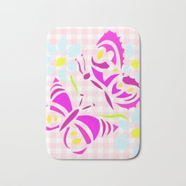 Purple butterfly and flower screen print on gingham Bath Mat