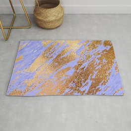 Pastel Lilac Faux Marble and 24-Karat Gold Veins Rug