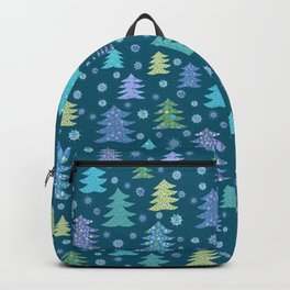 Winter Holidays Christmas Tree Green Forest Pattern Backpack