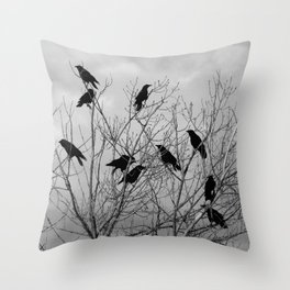 Murder Of Crows - Three Throw Pillow