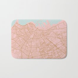 Casablanca map, Morocco Bath Mat