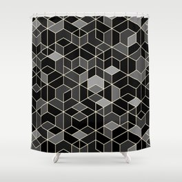 Black geometry / hexagon pattern Shower Curtain