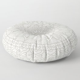 Gray Circle of Life Mandala on White Floor Pillow