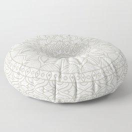 Gray Circle of Life Mandala on White Floor Pillow