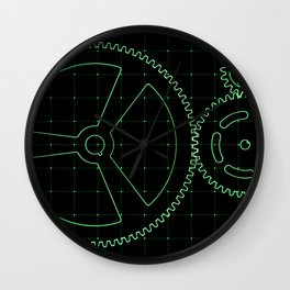 Set of green gears and cogs on virtual screen Wall Clock