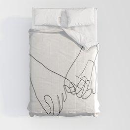 Pinky Swear Hands Line Art Comforters