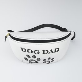 Paw print with hearts. Dog dad text. Happy Father's Day background Fanny Pack