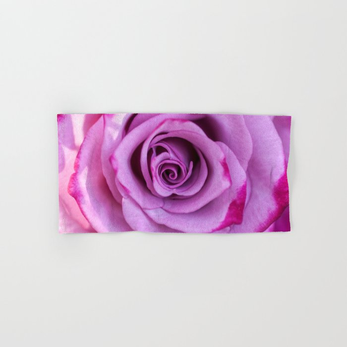 Heart of a rose I - Pink and purple Roses flowers Hand & Bath Towel