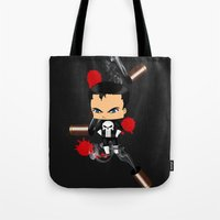 punisher Tote Bags featuring Chibi Punisher by artwaste