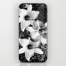 White Lilies on Black Glitter #1 #floral #decor #art #society6 iPhone Skin