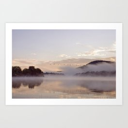 Into the Mists of Dawn: Sunrise on Lake George Art Print