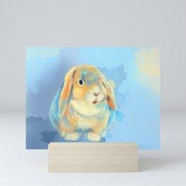 Winter Fluff - Bunny Rabbit Digital Painting Mini Art Print