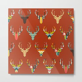 retro deer head russet Metal Print