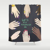 nail polish Shower Curtains featuring Let's put nail polish on by uzualsunday