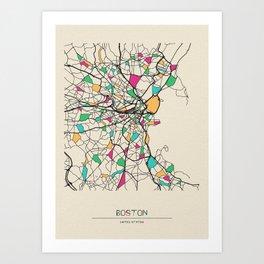 Colorful City Maps: Boston, Massachusetts Art Print