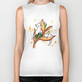 Yellow Heliconia and Cat Twins Biker Tank