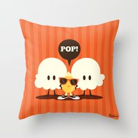 pop art Throw Pillows featuring Pop! by Steph Dillon