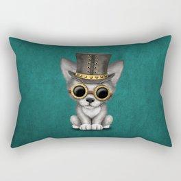 Steampunk Baby Wolf Cub on Blue Rectangular Pillow