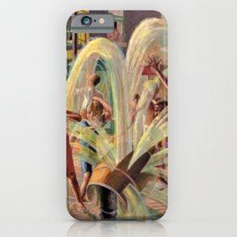 African American Masterpiece, Children Playing, Malcolm X Blvd Fire Hydrant landscape by K. Markham iPhone Case