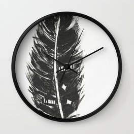 Black feather painting - abstract black feather Wall Clock