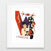 evangelion Framed Art Prints featuring Evangelion by Collectif PinUp!