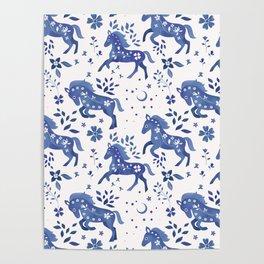 Delft Blue Horses Poster
