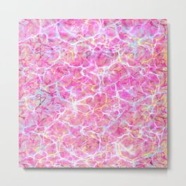 Abstract girly pink teal yellow watercolor marble pattern Metal Print
