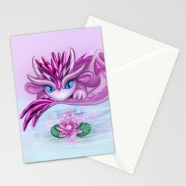 Cristall dragon baby with lotus Stationery Cards