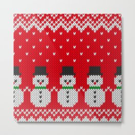 Knitted snowman pattern Metal Print