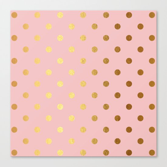 Gold polka dots on rosegold backround - Luxury pink pattern Canvas Print
