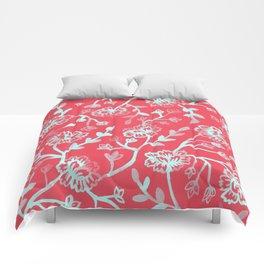 Watercolor Peonies - Guava Mint Comforters