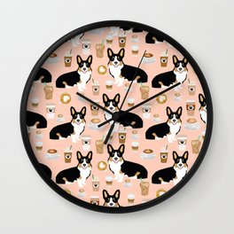 Welsh Corgi tri colored coffee lover dog gifts for corgis cafe latte pupuccino corgi crew Wall Clock