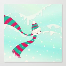 Christmas Peekaboo Snowman I - Mint Blue Snowy Background Canvas Print