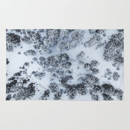 The Evergreen Forest Aerial (Black and White) Rug