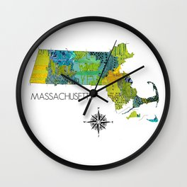 Map of MA Art Collage Wall Clock